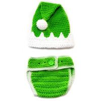 Wholesale Shower Costumes - Newborn Santa Elf Costume,Handmade Crochet Baby Boy Girl Christmas Hat Diaper Cover Set,Infant Photo Props,Baby Shower Gift,Christmas Gift