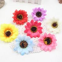 Wholesale Large Silk Flowers Yellow - Wholesale-10pcs Large Silk Sunflower Artificial Flower Head For Wedding Car Decoration DIY Garland Decorative Floristry Fake Flowers