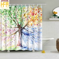 Wholesale Tree Print Curtain - Bathroom Shower Curatins Shower Curtains Four Colors Tree Digital Printing Polyester Bath Curtain Fashion Natural Touch 2 Sizes