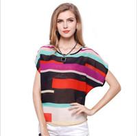 Wholesale Stripe Batwing Shirt - women 2017 t-shirt chiffon tops newest moedl batwing coat stripe color matching fashion women summer clothing
