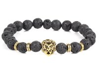 Wholesale Lions Jewelry Charms - The explosion of natural stone grinding pressure of shiny black volcano stone hand string round beads lion bracelet jewelry wholesale
