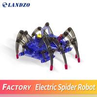 Wholesale Diy Spider Robot - LANDZO DIY Assemble Intelligent Electric Spider Robot Toy Educational DIY Kit Hot Selling Assembling Building Puzzle Toys