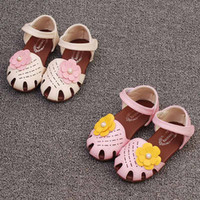 Wholesale Wholesale Korean Sandals - Summer New Childrens Sandals Korean princess flower sweet breathe freely Beach Girl Shoes Toddler Sandals kids baby Girls Footwear A261