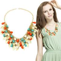 Wholesale Statement Necklace Orange - Wholesale-Orange Jewelry Collar Statement Necklace Multi Layer Leaf Beads Women Bijoux Choker Necklace Collier Femme N2136