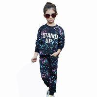 Wholesale Girls Sports Uniforms - Wholesale- 2016 Autumn Winter Style Baby Girls Graffiti O-neck 2pcs set Kids School Tracksuit Uniform Sport Suit Clothing Sets