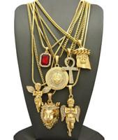Wholesale Lion Necklace Unisex - Men's Hip Hop Ruby, 2 Angels, Jesus, Lion, MADUSA, Ankh Pendant 7 Necklace Set jewelry