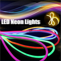 Wholesale Wholesale Commercial Led Lighting - AC 220V 110V LED Neon Light flexible strip High Brightness Flexible Neon Tape Solt Tube Waterproof Outdoor with Plug