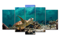 Digital printing painted turtle - 5 Panel HD Printed Seascape Painting on Canvas Animal Sea Turtle Wall Poster Home Decor Ready to Hang