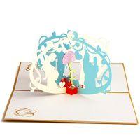 Wholesale vintage 3d postcard resale online - Hot New Vintage Kirigami D Laser Cut Pop Up Greeting Cards Handmade Postcards Gift Mom and I Cards For Mother s Day