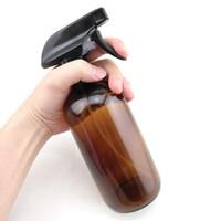 botellas de vidrio de ámbar de aromaterapia al por mayor-Large 16 Oz 500ml Empty Amber Glass Spray Contenedores de botellas rellenables w / spray negro para aceites esenciales de limpieza aromaterapia