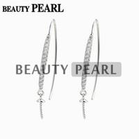 Wholesale Earwire Earrings - 5 Pairs Earwire Findings 925 Sterling Silver Hook Pearl Drop Earrings Semi Mounting Cubic Zirconia Jewellery