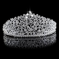 Wholesale Large Tiara Crown - Luxury Silver Large Diamante Wedding Pageant Tiara Headband Full Crystal Bridal Crown For Bride Hair Jewelry Headpiece Hairwear