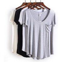 Wholesale New Shirt Colors For Women - 4 Colors Fashion All Match V Neck Short Sleeve T Shirts Summer New Arrivals Bottoming Loose European Style Tops for Women