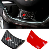 Wholesale Carbon Fiber Steering Wheels - Carbon Fiber Sline Steering Wheel Stickers S3 S4 S5 S6 S7 RS Interior Emblem Badge for Audi A3 A4 A5 A6 Q3 Q5