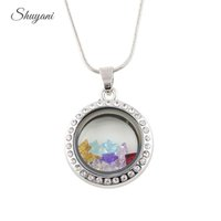 Wholesale White Gold Floating Locket - Round Shape Locket Necklace with 10 Star Birthstone Alloy Floating Locket Pendant with Free Chain Mix 4 Colors Crystal 25mm