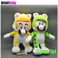 Wholesale Wholesale Super Mario Baby - New 2pcs Super Mario Bros Cat Mario Luigi 3D World Soft Stuffed Plush Doll Baby Toy Green Yellow Approx 18cm 7""
