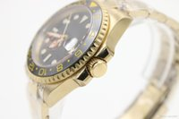 Wholesale Golden Mechanical Wrist Watch - Wholesale Luxury Brand Black Dial Golden Stainless Belt Whatches Black Irab Bezel Watch Mens Fashion Wrist Watches Promotions