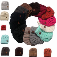 Wholesale Wholesale Cotton Knitting Hats - Newest women CC hats Wool Beanie Winter Knitted Hats Warm Hedging Skull Caps Hand Crochet Caps Hats 15 colors C1775