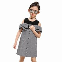 black off the shoulder clothing - Retail Summer Teenage Girls Dresses Black White Plaid Off The Shoulder Ruffle Cotton Casual Beach Dress Children Clothing byt361