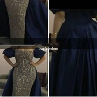 Wholesale Evening Dresses Straight Line - Custom Made 2017 Luxury Arabic Navy Blue Lace Beads Evening Dress Straight Off the Shoulder Short Sleeves Train Long Formal Prom Gowns