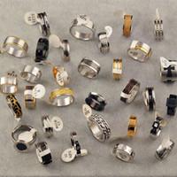 Wholesale Wholesale Titanium Black Diamond Rings - Fashion Black Simple Men Ring Jewelry Stainless Steel Rings Wild Popular Personality Diamond Titanium Steel Men's ring