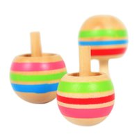Wholesale Wood Spinning Tops - Wholesale- Novelty 3pcs set Wooden Colorful Spinning Top Kids Wood Children's Party Toy Stock Offer Hot Selling