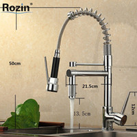 Wholesale Two Tap Vessel Sink - Wholesale- Single Handle Pull Down Spring Spray Kitchen Sink Faucet Two Spout Swivel Chrome Kitchen Vessel Sink Bar Mixer Taps