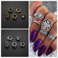 Wholesale Antique Engraved Ring - Vintage Knuckle Stacking Ring Sets Antique Silver Gold Tone Engraved Totem Flowers Joint Ring Sets