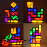Wholesale magic block puzzles - Led glow Tetris Puzzle Desk table lamp DIY colorful Magic blocks Stackable night light Constructible Led cubes children gift fuuny toys