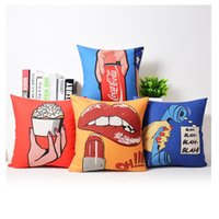 Wholesale Telephone Sexy Lips - Sexy Lip Cushion Cover Pop Style Telephone Beige Pillow Cases Thin Linen Cotton Bedroom Sofa Decoration Kids Favor 45X45cm 95g