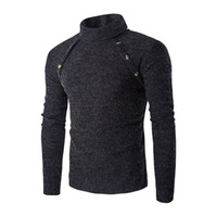 Wholesale Mens Thin Turtleneck - Wholesale- 2016 New Arrival Winter Brand Turtleneck Sweater Fashion Men Casual Double-breasted Slim Soild Pullover Mens Patchwork Sweaters