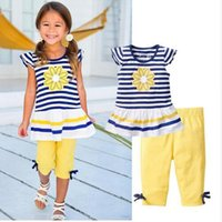 Wholesale Girls Outfits Sets Cheap - new arrvial cheap baby girls 2 pcs shorts sleeve outfits daisy striped fabric t-shirt legging set yellow