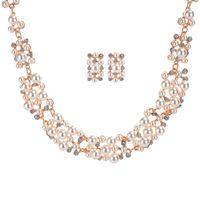 Wholesale Wholesale Acrylic Jewel Necklace - 2 Colors Bridal Jewel Wholesale Rhinestone Mixed Colors Imitation Pearl Pendant Necklace Earrings Necklace Set Wedding Jewelry
