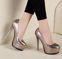 Wholesale Sexy Ladies Heel Shoes - 2017 sexy lady high heel platform pumps women shoes metal color party club wear size 34 to 39