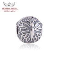 ingrosso nuclei in argento sterling-Memnon Jewery 925 sterling silver farfalla argento blocco clip core stop perline charms gioielli fai da te fit bead braccialetto di fascino gioielleria raffinata KT080-N