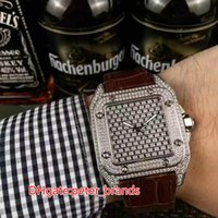 Men's square watch automatic - Famous brand menswear with high grade diamond watch automatic machine silver shell buckle original diamond Square Watch
