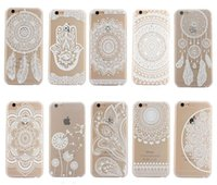 Wholesale white dream catchers resale online - Henna White Floral Paisley Flower Mandala Elephant Dream Catcher PC Back phone Case Cover For iPhone Plus Samsung S7 note6