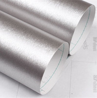 Wholesale Furniture Film - Wholesale- Self adhesive wall paper furniture decor silver brushed metal texture wallpapers film cabinets waterproof 2meter stickers