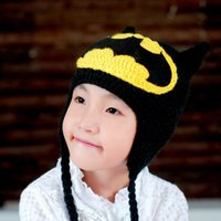 Wholesale Crocheted Caps For Girls - Cartoon Batman Crochet Hats Winter Warm Knitted Caps for Girls and Boys Toddler Handmade Lovely Hats