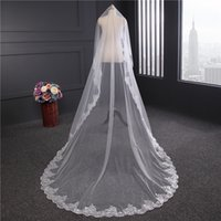Wholesale Cathedral Veil Without Comb - Lace 3M Long Wedding Veil Sequins Beading Cathedral Length Wedding Veils Bridal Long Veil without comb