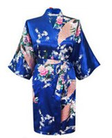 Wholesale green silk nightgown - Wholesale- Hot Sales 2017 Chinese Rayon Silk Simulation Spring Summer Women Robe Kimono Bath Gown Nightgown Bathrobe Phoenix Flower Pattern