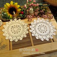 Wholesale Zakka Crochet - Wholesale- ZAKKA Handmade 30cm Round flower Lace Doilies Crochet Coaster Table Place mats Crochet cup mat 10pcs Lot