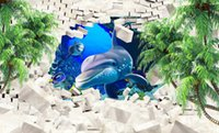 Wholesale Sound Absorbing Materials - Wallpaper For Walls 3 D Dolphin Coconut Tree Wall papers Home Decor TV Backdrop Living room Bedroom