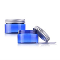 Wholesale Cosmetic Tin Cans Wholesale - 100g empty blue skin care cream PET jars with aluminum cap,cosmetic cream box containers wide mouth bottle sealed tin cans F2017280