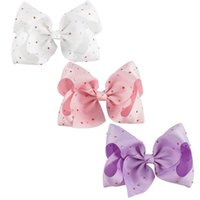 "Wholesale Large Bows Clips - Jojo Hair Bow 8 "" Large Red White Hair Bows Clips For Kids Wholesale Rainbow Pastal Bow Bestie Ombre Hair Bows"