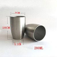 Wholesale Decoration Water Wall - 280ml Stainless Steel Water Cups Double Wall Wine Tumbler Stemless Mugs Vacuum Cup For Home Office Drinking 5 8mc AR