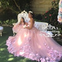 Wholesale Colorful Sweet 16 Dresses - 2018 Sweet Blush Pink Wedding Dresses Sweetheart Flowers Appliques Tulle Ribbon Backless Wedding Gowns Romantic Bridal Dresses