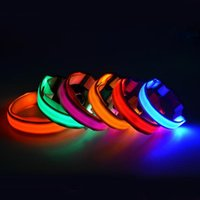 Wholesale Dog Training Husky - Teddy husky Pet Dog LED Collar Cat Collars Flashing Nylon Neck Light Up Training Collar for dogs Pet Supplies Dog Collars PD007