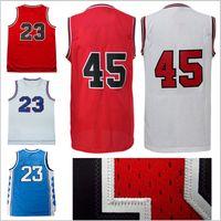 Wholesale Throwback Jerseys Free Shipping - hot sale retro michael jerseys jordan basketball jerseys jordans #45 23# jersey high quality Jeffrey men throwback free shipping