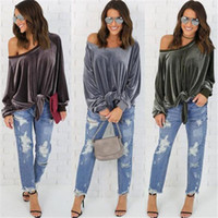 Wholesale Brown Shirt Tie - Sexy Loose Velvet T-Shirt Women Tied Up Bowknot Tee Tops Women Long Sleeve Pullover Shirts one shoulder tops